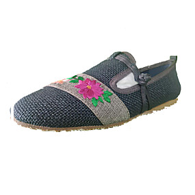voordelige Damesinstappers & loafers-Dames Loafers & Slip-Ons Geborduurd Platte hak Ronde Teen Linnen Vintage Herfst / Lente zomer Donkerblauw / Leger Groen