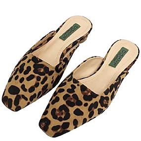 voordelige Damesinstappers & loafers-Dames Polyester Lente Loafers & Slip-Ons Lage hak Vierkante Teen Amandel / Luipaard / Khaki