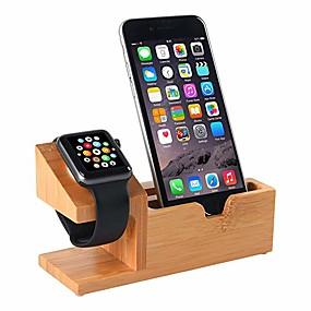 abordables 30/5000 Soportes y soportes Smartwatch-compatible con soporte de reloj de apple soporte de carga usb soporte para teléfono con puerto de carga de usb 3 estación de muelle de carga de madera de bambú para 38mm y 42mm de Apple