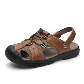 baratos Sandálias Masculinas-Homens Sapatos Confortáveis Pele Napa Verão Casual Sandálias Água / Caminhada Respirável Preto / Marron / Verde