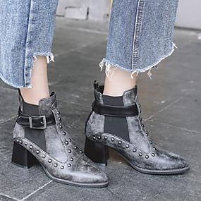 billige Mote Boots-Dame Støvler Fashion Boots Tykk hæl Rund Tå Nagle PU Ankelstøvler Vintage / Preppy Høst vinter Svart / Mørkebrun / Fest / aften