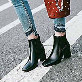 billige Mote Boots-Dame PU Vår & Vinter Klassisk / Britisk Støvler Tykk hæl Kvadratisk Tå Støvletter Hvit / Svart / Rød