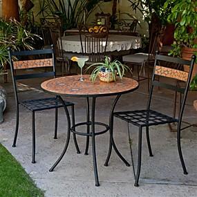 cheap Outdoor Furniture-3-Piece Black Metal Patio Bistro Set with Terra Cotta Tiles