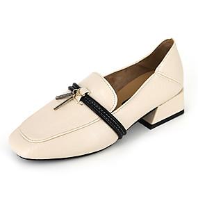 voordelige Damesinstappers & loafers-Dames Loafers & Slip-Ons Comfort schoenen Blokhak Kwastje PU Informeel Zomer Zwart / Beige