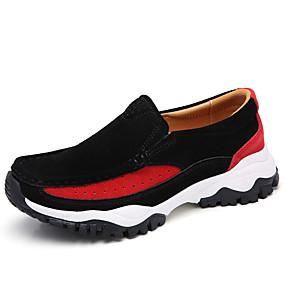 voordelige Damesinstappers & loafers-Dames Suède Lente & Herfst / Herfst winter Vintage / Dad Shoes Loafers & Slip-Ons Trektochten / Wandelen Platte hak Ronde Teen Zwart / Grijs / Rood / Kleurenblok