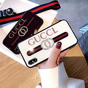 billige Telefoner og tilbehør-Etui Til Apple iPhone XS / iPhone XR / iPhone XS Max Rhinstein / Mønster Bakdeksel Ord / setning Hard Herdet glass