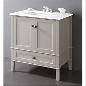 cheap Bathroom Furniture-Contemporary Bathroom Vanity in Soft White with Marble Top and Rectangle Sink
