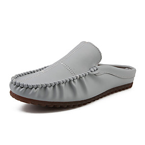 baratos Tamancos Masculinos-Homens Sapatos Confortáveis Couro Ecológico Verão Casual Tamancos e Mules Respirável Preto / Branco / Cinzento