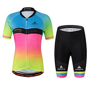 ราคาถูก Sports & Outdoors-Miloto สำหรับผู้หญิง แขนสั้น Cycling Jersey with Shorts - สายรุ้ง ขนาดพิเศษ จักรยาน เสื้อยืด, แถบสะท้อนแสง, Sweat-wicking สแปนเด็กซ์ ไล่โทนสี