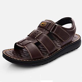 baratos Sandálias Masculinas-Homens Sapatos Confortáveis Pele Outono / Primavera Verão Vintage / Casual Sandálias Respirável Preto / Marron / Ao ar livre