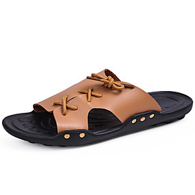 500898953 Men's Comfort Shoes Patent Leather Spring & Summer Casual Slippers &  Flip-Flops Breathable White / Black / Yellow
