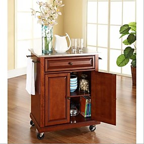 cheap Kitchen & Dining Furniture-Stainless Steel Top Portable Kitchen Island Cart in Classic Cherry