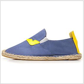 voordelige Damesschoenen met platte hak-Dames Platte schoenen Platte hak Ronde Teen Canvas Zomer Zwart / Wit / Blauw