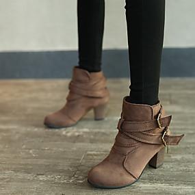 billige Mote Boots-Dame Støvler Tykk hæl Rund Tå Spenne Mikrofiber Ankelstøvler Vintage Høst vinter Svart / Lysegul / Brun