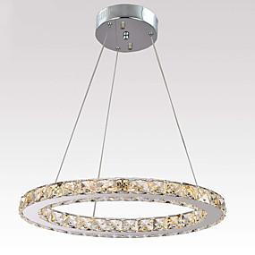 billige Hengelamper-ledet krystall taklampe flush mount anheng lett sirkel 1 ring skygge krystall lysekroner dimmerable justerbar anheng lysarmatur for soverom