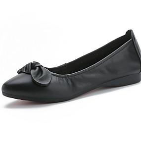 voordelige Damesschoenen met platte hak-Dames Platte schoenen Platte hak Gepuntte Teen Strik Leer Zomer Zwart / Wit