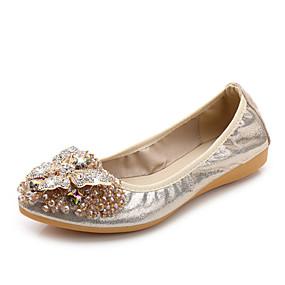 voordelige Damesschoenen met platte hak-Dames Platte schoenen Comfort schoenen Platte hak Strass Microvezel Lente Goud / Zwart / Zilver