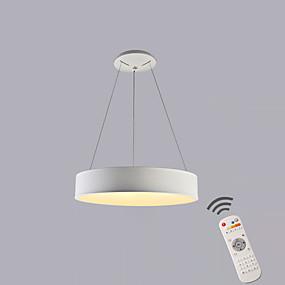 billige Hengelamper-sirkel pendel lys omgivende lysmalte overflater metall dimbar dimbar med fjernkontroll