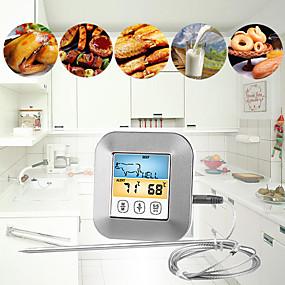 voordelige Super Korting-kookwekker bbq temperatuur koken voedsel vlees grill bbq waterdichte sondes oven koken meter alarmscherm kleurrijk scherm