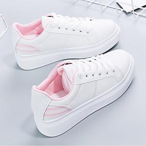 voordelige Damessneakers-Dames Sneakers Platte hak PU Lente & Herfst Zwart / Roze