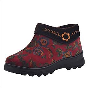 voordelige Damesschoenen met platte hak-Dames Platte schoenen Platte hak Ronde Teen Satijn Lente Rood / Blauw