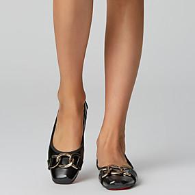 voordelige Damesschoenen met platte hak-Dames Lakleer Lente zomer Informeel / minimalisme Platte schoenen Platte hak Vierkante Teen Gesp Zwart / Amandel / Feesten & Uitgaan