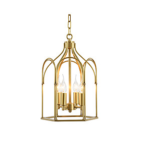 billige Hengelamper-anheng lampe metallburer lysekroner kjede justerbare antikke anheng lysarmaturer spisebord overhead lys gull 4 lys lysekrone