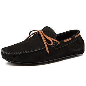 baratos Sapatos Náuticos Masculinos-Homens Mocassim Pele Primavera / Outono Sapatos de Barco Respirável Preto / Verde / Azul