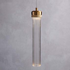 abordables Plafonniers-unique suspension lampe suspension minimaliste lumière abat-jour en verre cylindre éclairage suspendu lumière ambiante galvanoplastie métal brossé nouveau design led blanc chaud