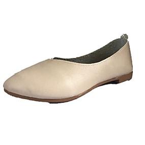 voordelige Damesschoenen met platte hak-Dames Platte schoenen Platte hak Ronde Teen PU Zomer Donker Bruin / Wit / Beige