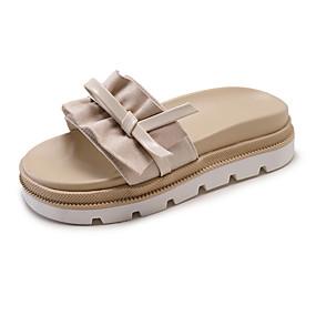 voordelige Damesschoenen met platte hak-Dames Platte schoenen Platte hak Open teen PU Zomer Blauw / Khaki