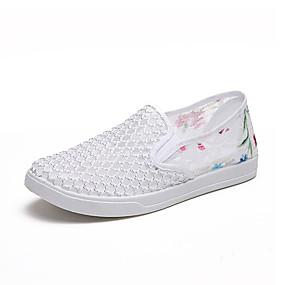 voordelige Damesinstappers & loafers-Dames Loafers & Slip-Ons Geborduurd Platte hak Ronde Teen Elastische stof Informeel Zomer Zwart / Licht Grijs