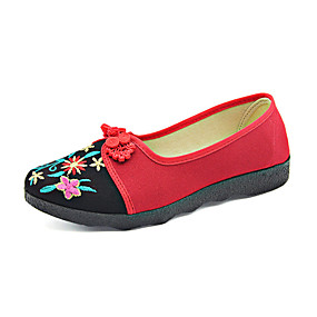 voordelige Damesinstappers & loafers-Dames Loafers & Slip-Ons Geborduurd Platte hak Ronde Teen Katoen Vintage Zomer Zwart / Rood
