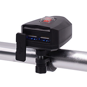 abordables Nouvelles arrivées en août-chargeur de téléphone portable moto double chargeur électrique étanche avec interrupteur 10v-80v