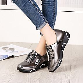 voordelige Damesschoenen met platte hak-Dames Platte schoenen Platte hak Lakleer Lente & Herfst / Winter Zwart / Khaki