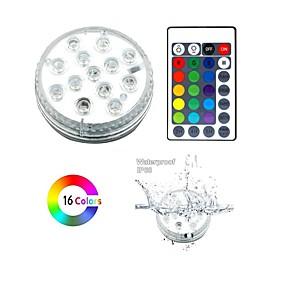 halpa Polun valot-13 led-upotettavat valot kauko-ohjattavalla rgb-vedenkestävällä vedenpitävällä valolla lampi-altaalle suihkulähde akvaariomaljakko maljakko kylpytynnyri juhla 1pakkaus