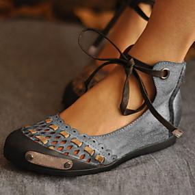 voordelige Damesschoenen met platte hak-Dames Platte schoenen Platte hak Ronde Teen Strik PU Zomer Paars / Blauw / Grijs