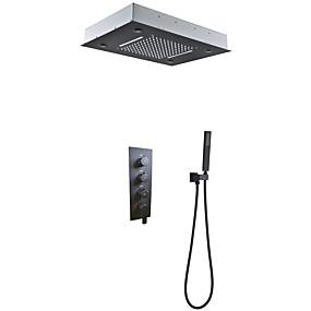 billige Sales-Badeværelse Bruserhaner sæt / 50x36 cm LED Brusehoved / Håndbruser inkluderet / varmt og koldt bad mixerventil / messing / moderne