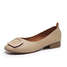 voordelige Damesschoenen met platte hak-Dames Platte schoenen Blok hiel Vierkante Teen PU Zoet / minimalisme Zomer / Lente zomer Beige / Amandel / Feesten & Uitgaan