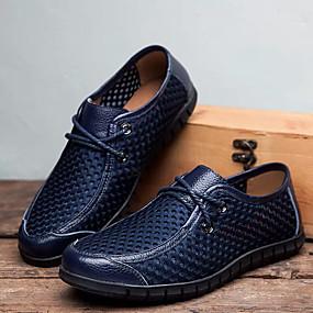 baratos Oxfords Masculinos-Homens Sapatos Confortáveis Couro Ecológico Verão Oxfords Azul Escuro / Amarelo / Castanho Claro