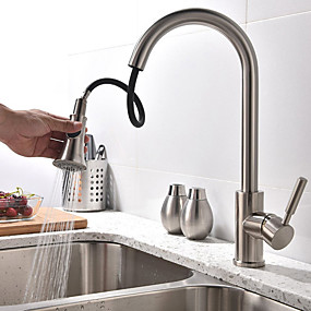 cheap New Arrivals-Kitchen faucet - Single Handle Two Holes Brushed Steel Tall / High Arc Vessel Contemporary Kitchen Taps