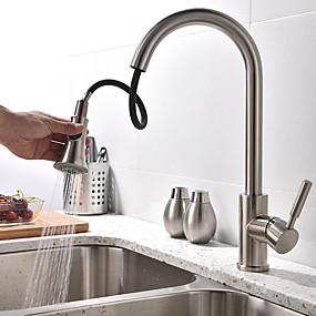 povoljno Nova kolekcija-Kuhinja pipa - Jedan obrađuju dvije rupe Polirani čelik Visok / High Arc Nadgradni umivaonik Suvremena Kitchen Taps