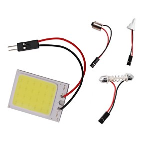 billige Nyankomne i august-1pc t10 ba9s festoon dome lys bil cob led panel lys dc 12v 3w hvit med 3 adaptere for bil bil interiør lys leser kart lampe