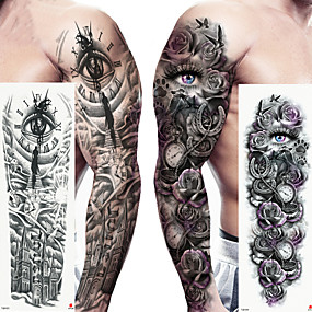 Недорогие Временные татуировки-2 pcs Временные татуировки Экологичные / Одноразового использования Корпус / плечо / ножка Картон