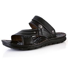 baratos Sandálias e Chinelos Masculinos-Homens Sapatos Confortáveis Pele Napa Verão Casual Chinelos e flip-flops Caminhada Respirável Botas Cano Médio Preto / Marron