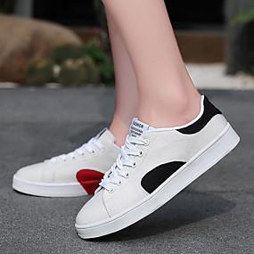 voordelige Damessneakers-Dames Sneakers Creepers Ronde Teen Canvas Informeel Wandelen Zomer zwart / wit / ホワイトとグリーン / Rood