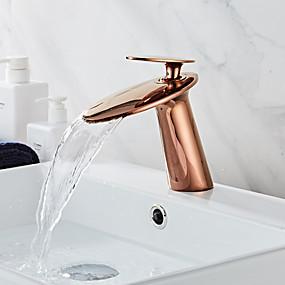 povoljno Nova kolekcija-Set za slavinu - Waterfall Rose Gold Središnje pozicionirane Jedan Ručka jedna rupaBath Taps