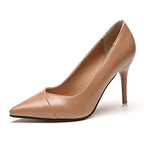billige Forhåndsalg-Dame Høye hæler Stiletthæl Spisstå PU minimalisme Sommer Svart / Rød / Kakifarget