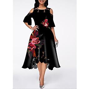 cheap US Explore Autumn Low-Key luxe-Women's Street chic A Line Dress - Floral Lace Ruffle Black M L XL XXL
