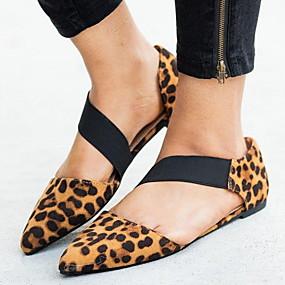 voordelige Damesschoenen met platte hak-Dames Platte schoenen Platte hak Gepuntte Teen Gesp PU Zomer Zwart / Luipaard / Wit